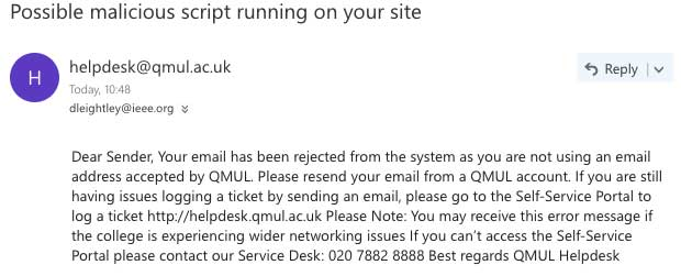 Email to Queens Mary IT