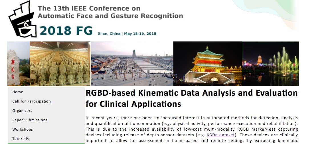 Special Session: Face & Gesture 2018 - RGBD-based Kinematic Data Analysis and Evaluation for Clinical Applications