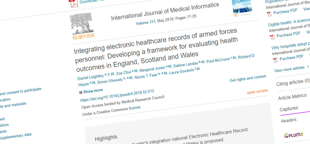 Integrating electronic healthcare records of armed forces personnel: Developing a framework for evaluating health outcomes in England, Scotland and Wales