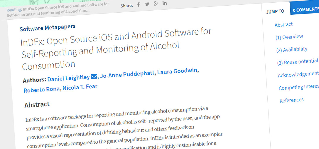 InDEx: Open Source iOS and Android Software for Self-Reporting and Monitoring of Alcohol Consumption