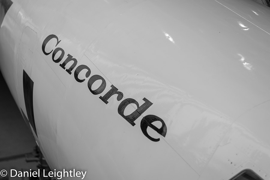 Side of Concorde, in black and white