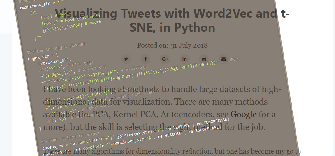 Visualizing Tweets with Word2Vec and t-SNE, in Python