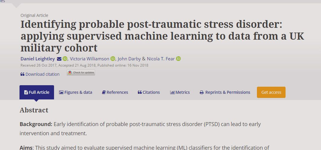 Just Published: Identifying probable post-traumatic stress disorder: applying supervised machine learning to data from a UK military cohort