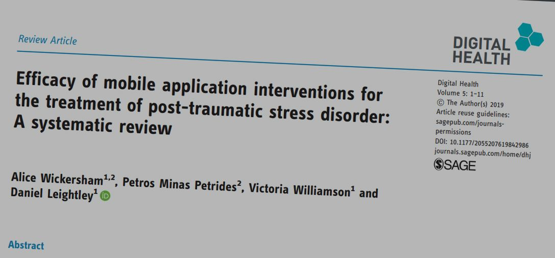 Just published: Efficacy of mobile application interventions for the treatment of post-traumatic stress disorder: A systematic review