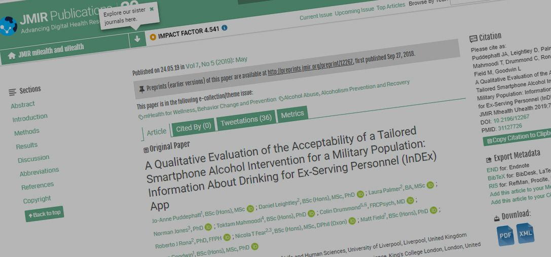 Just Published: A Qualitative Evaluation of the Acceptability of a Tailored Smartphone Alcohol Intervention for a Military Population: Information About Drinking for Ex-Serving Personnel (InDEx) App