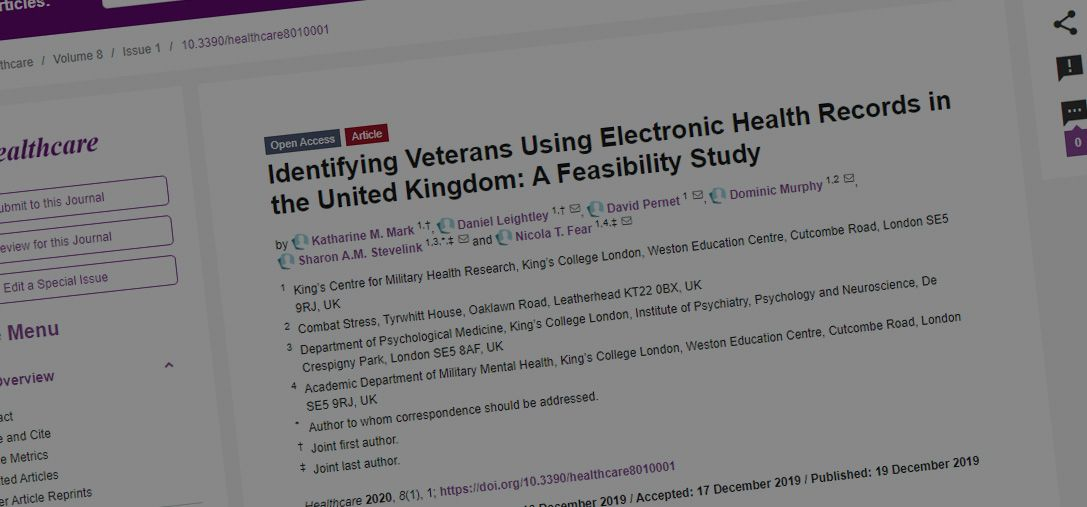 Just Published: Identifying Veterans Using Electronic Health Records in the United Kingdom: A Feasibility Study